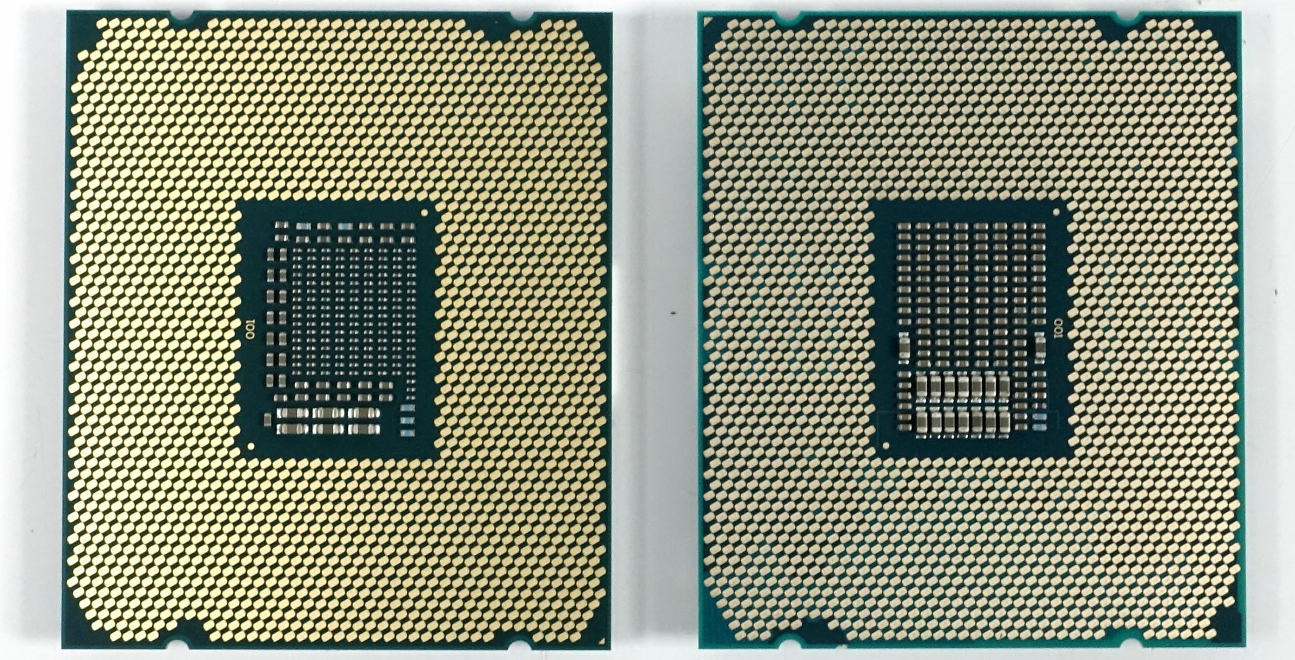Sockelunterschiede: Kaby Lake-X (links) und Skylake-X (rechts)