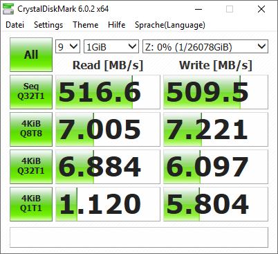 CrystalDisk Benchmark der Seagate Ironwolf NAS 14TB RAID 0